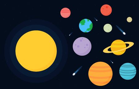 Planets set of the solar system. Simple flat 일러스트