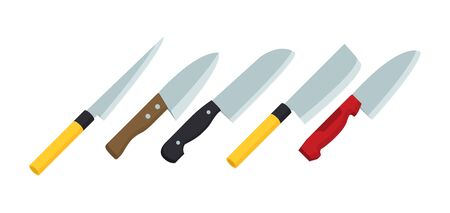 A set of knives in flat vector style Standard-Bild - 133743270