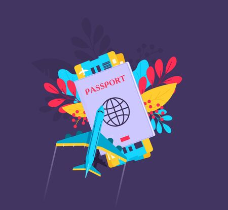 Passport with tickets icon vector illustration isolated on background. Ilustração