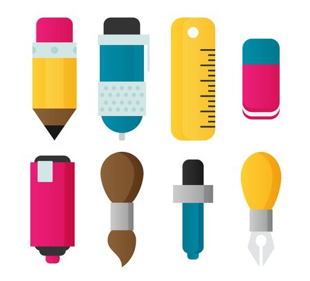 Paint and writing tools flat icons Stockfoto - 133097486