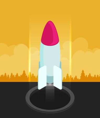 Vector illustration icon in flat style design. Rocket bomb flies down
