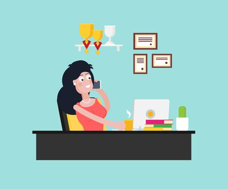 Office worker with phone working in office in the flat style vector