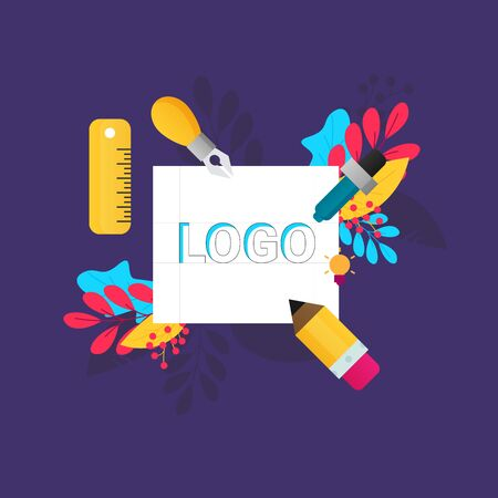 Logo creating. Colorful flat design icon. Vector illustration