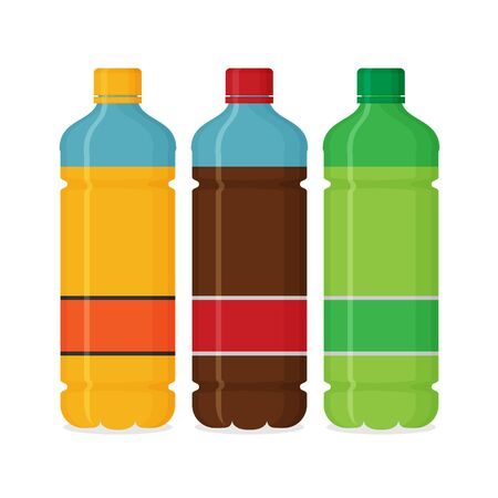 Plastic beverage bottles icon set. Bottled cold drinks flat vector illustration. Illusztráció