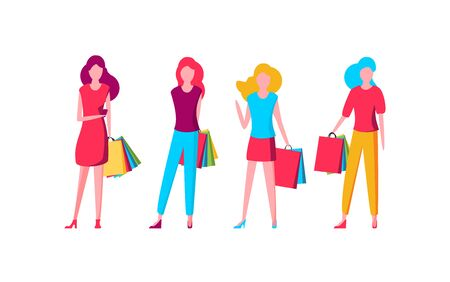 Flat fashion shopping girls illustration set Foto de archivo - 133743304