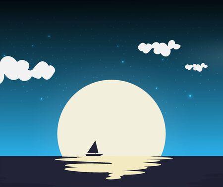 Ship in the night vector, flat illustration