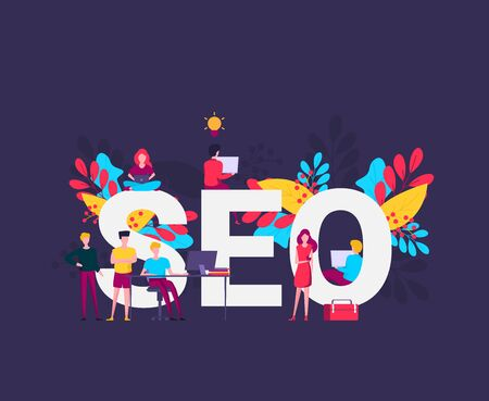 Flat design modern vector illustration concept of SEO word combined from elements and icons which symbolized a success internet searching optimization process. Concept with people, letters and icons.  Illustration