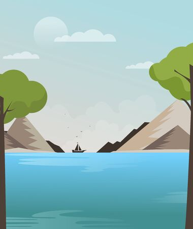Ship in the sea vector, flat illustration Stock Illustratie
