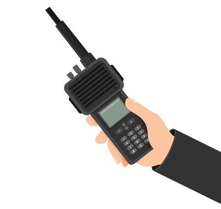 Modern portable handheld radio device. Vector illustration in flat style Illustration