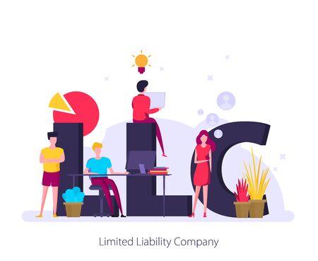 LLC, Gesellschaft mit beschränkter Haftung. Konzept mit Schlüsselwörtern, Buchstaben und Symbolen. Flache Vektorillustration.