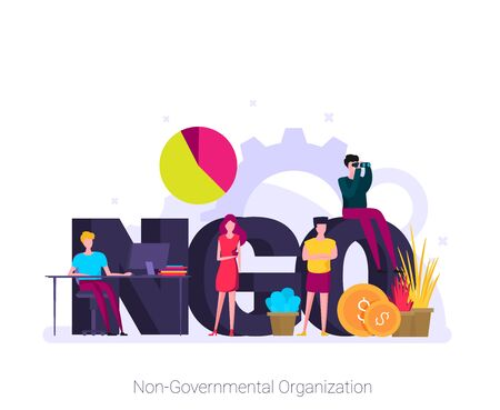 NGO, Non-Governmental Organization. Concept with keywords, letters and icons.