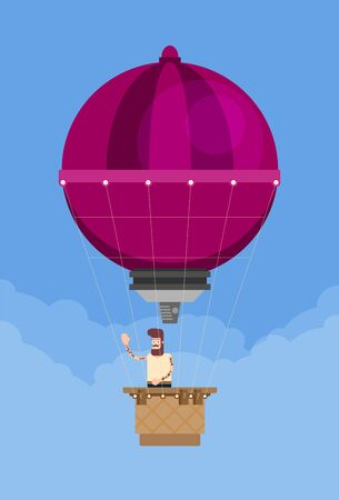 Man in a hot air balloon. Planning summer vacations. Tourism and vacation theme. Flat design vector illustration. Ilustración de vector