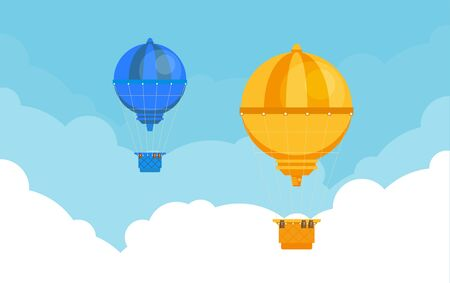 Hot air balloon. Planning summer vacations. Tourism and vacation theme. Flat design vector illustration. Ilustración de vector