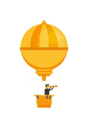 Man in a hot air balloon. Planning summer vacations. Tourism and vacation theme. Flat design vector illustration.