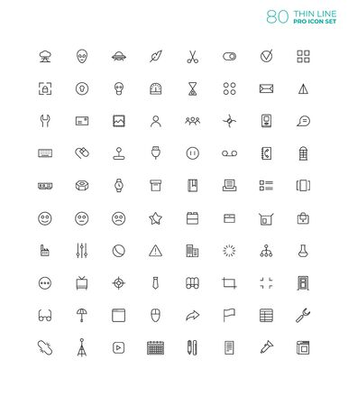 Line art simple icon set for web and applications vector Vetores