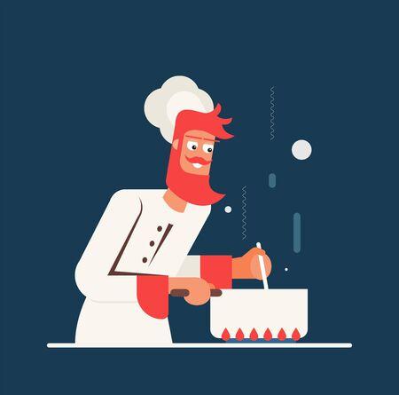 Vector illustration of chef. Flat design Vettoriali