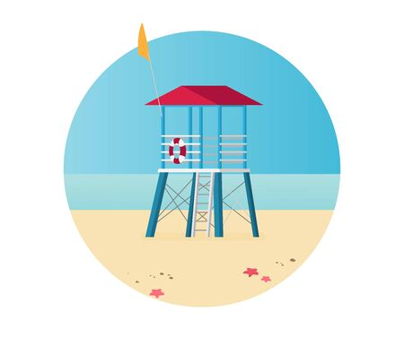 Summer holidays vector illustration,flat design beach Zdjęcie Seryjne - 143496005