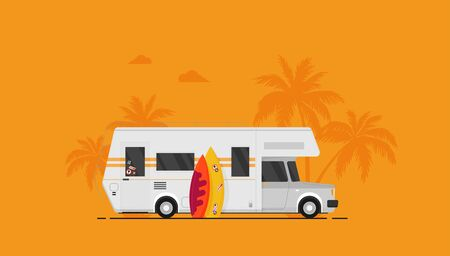Summer holidays vector illustration,flat design beach with car and surf