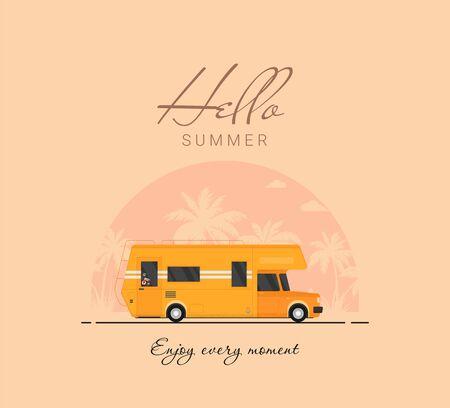 Summer holidays vector illustration,flat design beach with car and surf Zdjęcie Seryjne - 143491866