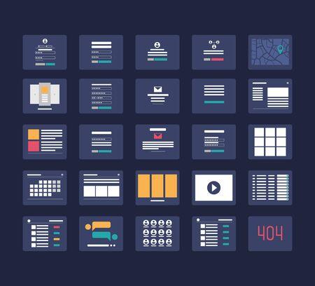 Flowchart cards for website structure planning vector illustration. Vetores
