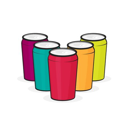 Aluminum cans for beer and soft drinks or energy.