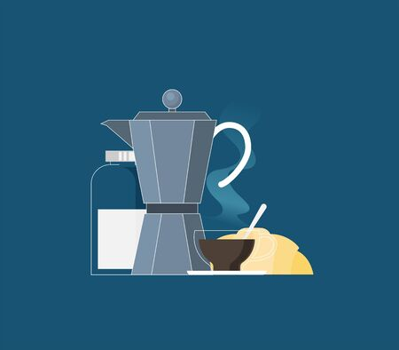 italian coffee maker and cup flat icon flat vector illustration