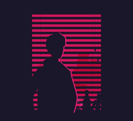 silhouette of man, watching in the window vector