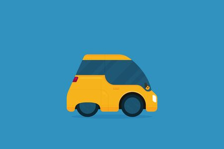 Flat future car vector isolated on color background
