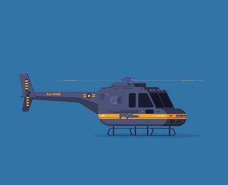 Flat style illustration helicopter isolated on color background Çizim