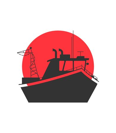 Vector concept of river ocean and sea fishing boat  Illustration