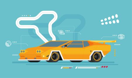 Vector racing car isolated on color background
