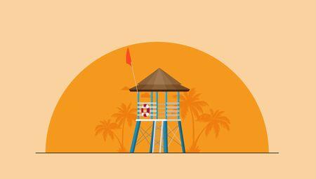 Summer holidays vector illustration,flat design beach Ilustracja
