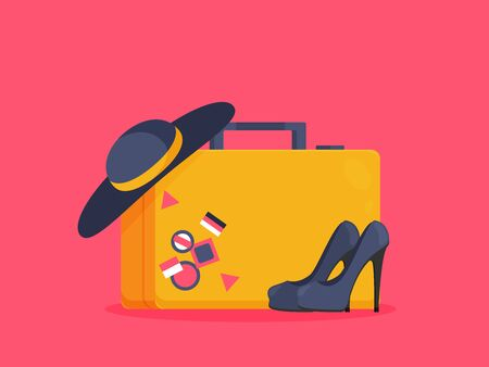 Baggage, luggage, suitcases on background. Flat style vector illustration. Vettoriali