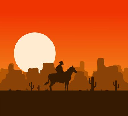 Western desert landscape at sunset with cowboy silhouette vector illustration.
