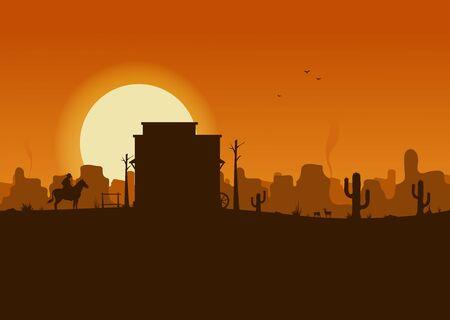Western desert landscape at sunset vector illustration. Ilustración de vector
