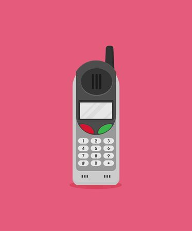 Vector flat icon of phone with keypad and display.