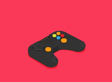 Flat joystick isometric vector isolated on color background
