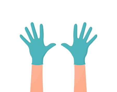 Hands putting on protective blue gloves. Latex gloves as a symbol of protection against viruses and bacteria. Precaution icon. Vector illustration flat design. Isolated on white background.