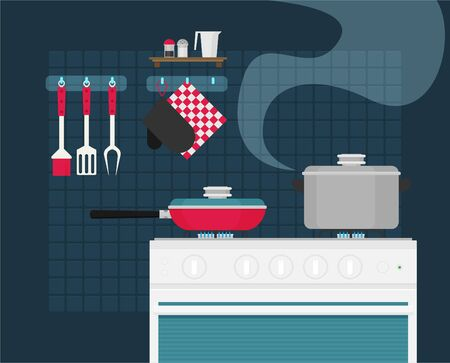 Interior of kitchen, pans on the stove, cooking. Vector illustration in flat style Ilustração