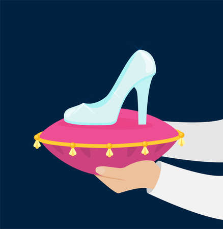 Cinderella tries on the glass slipper vector flat