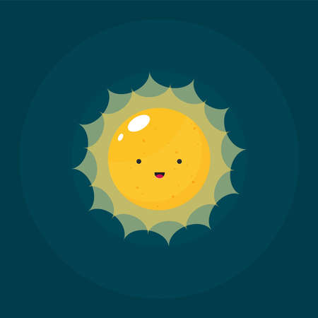 Flat vector funny cute sun with face vector for web and design colorful