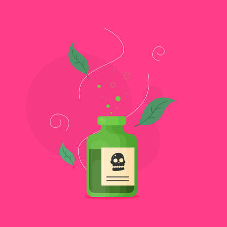 Poison bottle flat vector icon isolated on color background