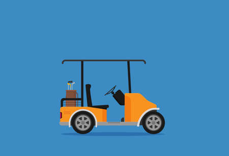 Flat vector golf car isolated on color background