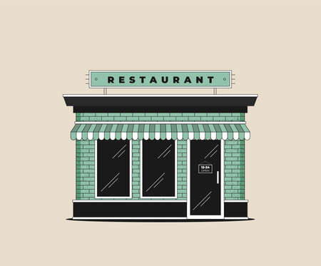 Downtown vector building with shop or store illustration isolated on background