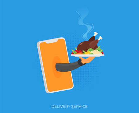 Food creative concept, restaurant cloche in hand, app service, enjoy your meal. Mobile service, delivery service
