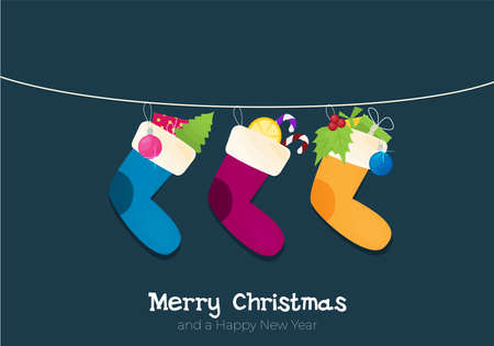 Flat style cartoon Christmas sock with candies, gifts. Vector