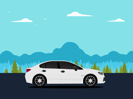 Travel car with nature. Vector illustration.