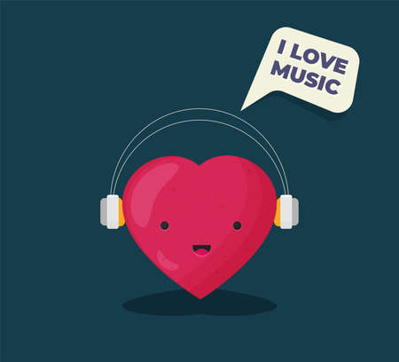 I love music. Flat vector isolated on color background