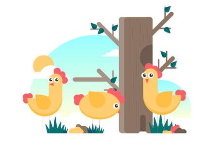 Cartoon flat vector chicken funny set