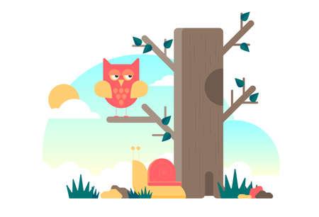 Flat vector cartoon owl with tree and sky Illusztráció